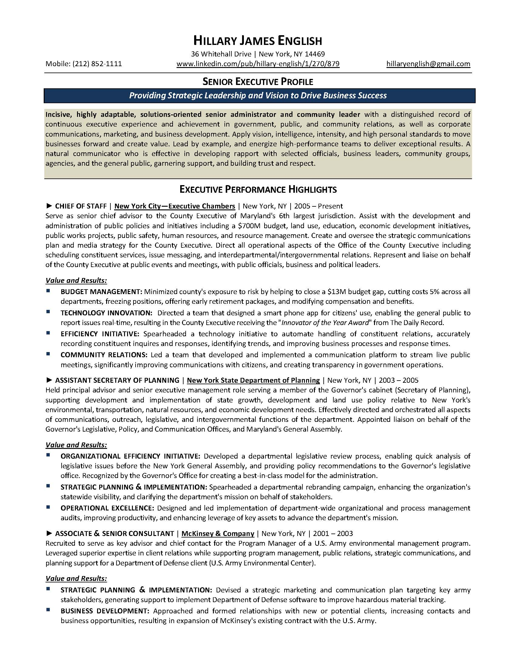 senior executive resume sample provided by elite resume writing services - Executive Resume Writing Services
