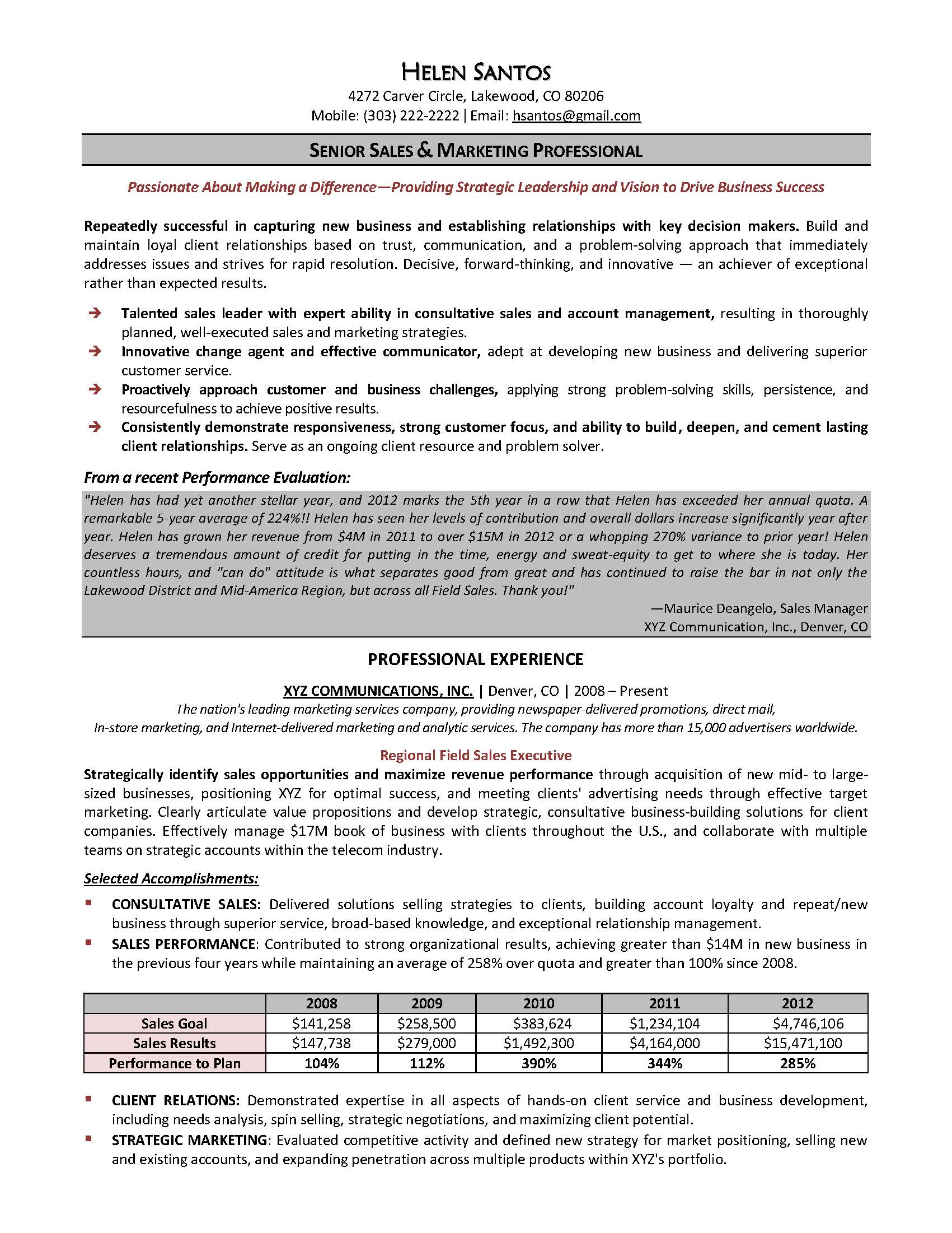 senior sales and marketing resume sample provided by elite resume writing services - Sample Business Development Resumes