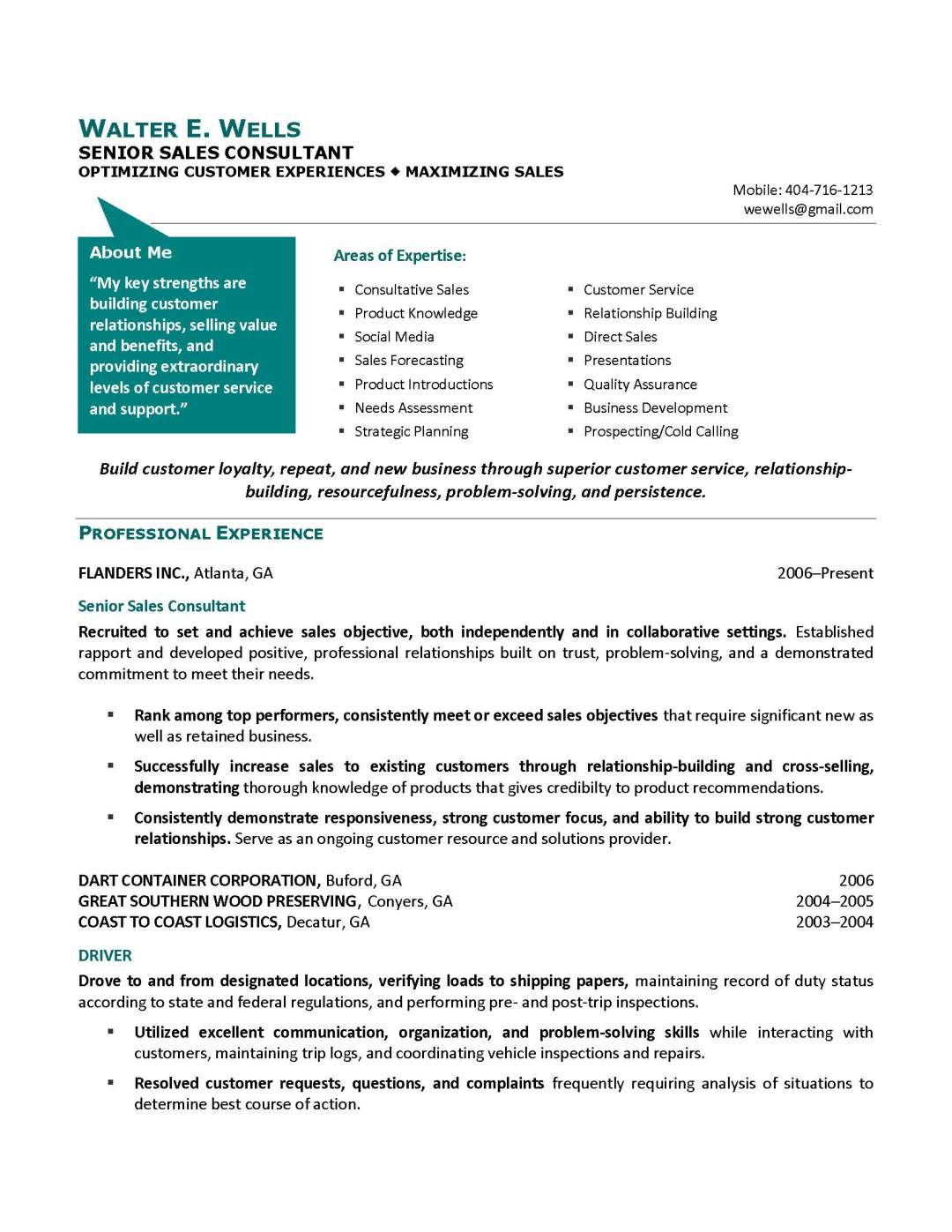 senior sales consultant resume sample, provided by Elite Resume Writing Services