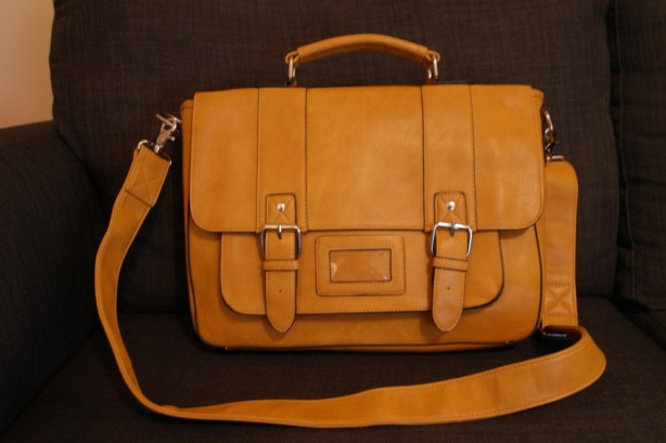Men's Yellow Leather Satchel