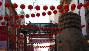 Lanterns and dragon, Chinese New Year, Chinatown, London (2)