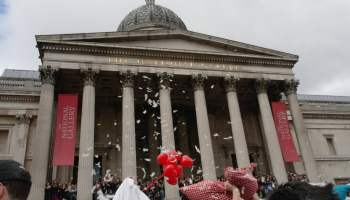 The National Gallery, World Pillow Fight Day, Trafalgar Square, London