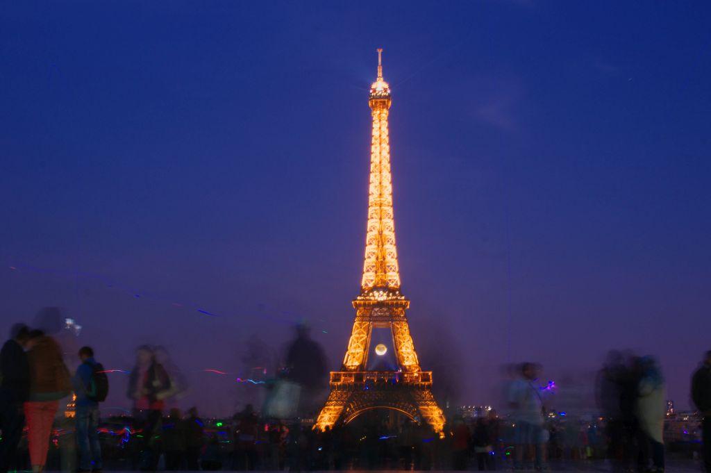 Eiffel Tower from Trocadero at night
