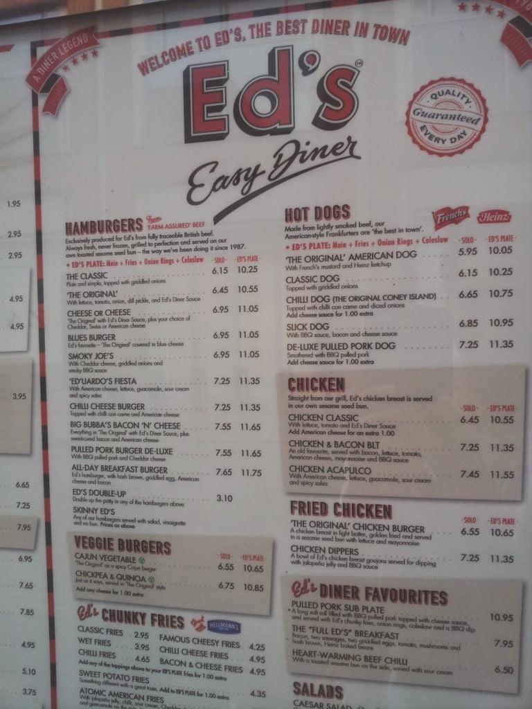 Ed's Easy Diner Menu