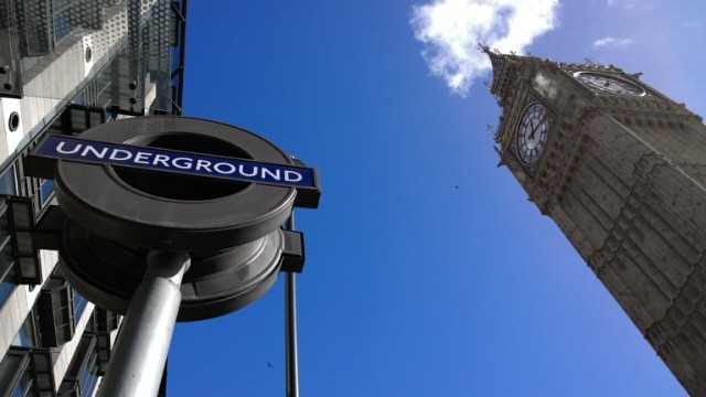 Blue colour pop Big Ben and underground sign