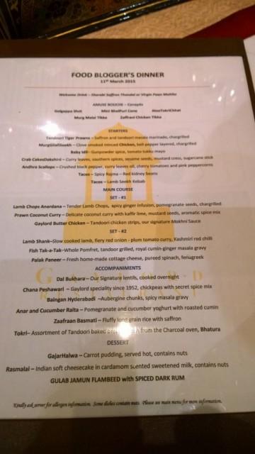Gaylord foodie blogger menu
