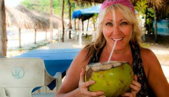 Sarah and a coconut