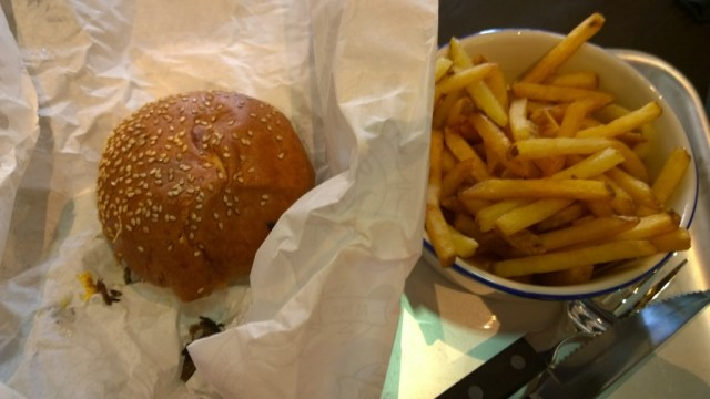 Short rib burger House fries at The Fire Station Waterloo London