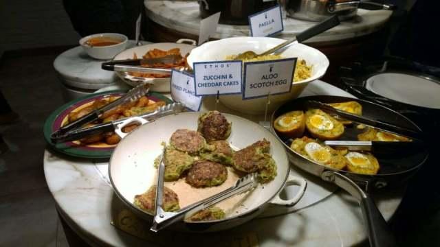 Zucchini cheddar cakes Ethos Restaurant London