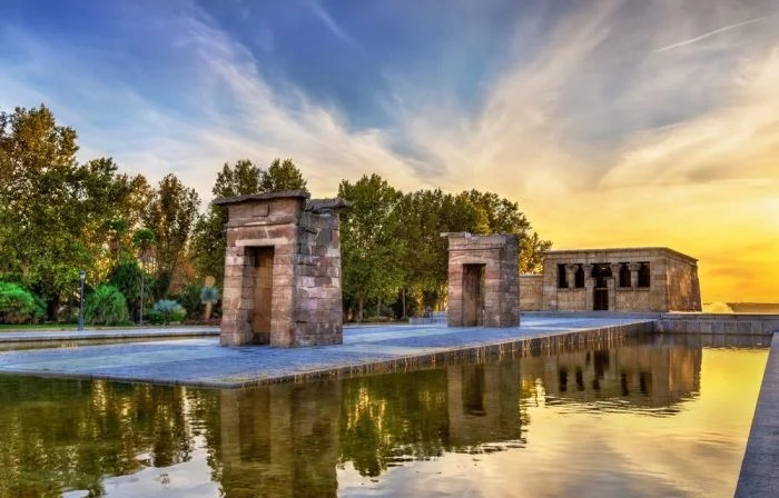Egyptian Temple Madrid at Sunset