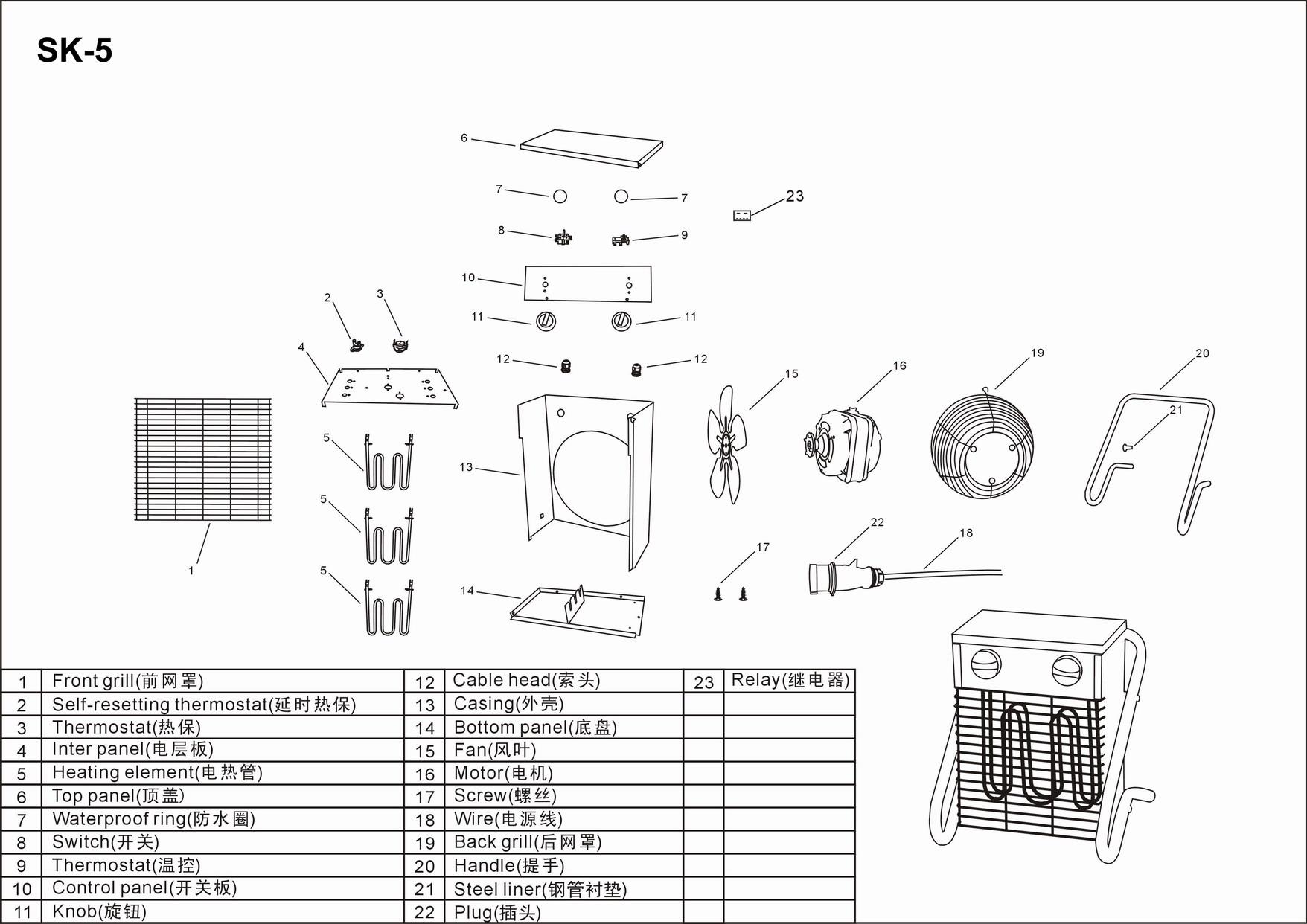 Turbo Calefactor Sk5 Electrica 380v 5kw Espacio