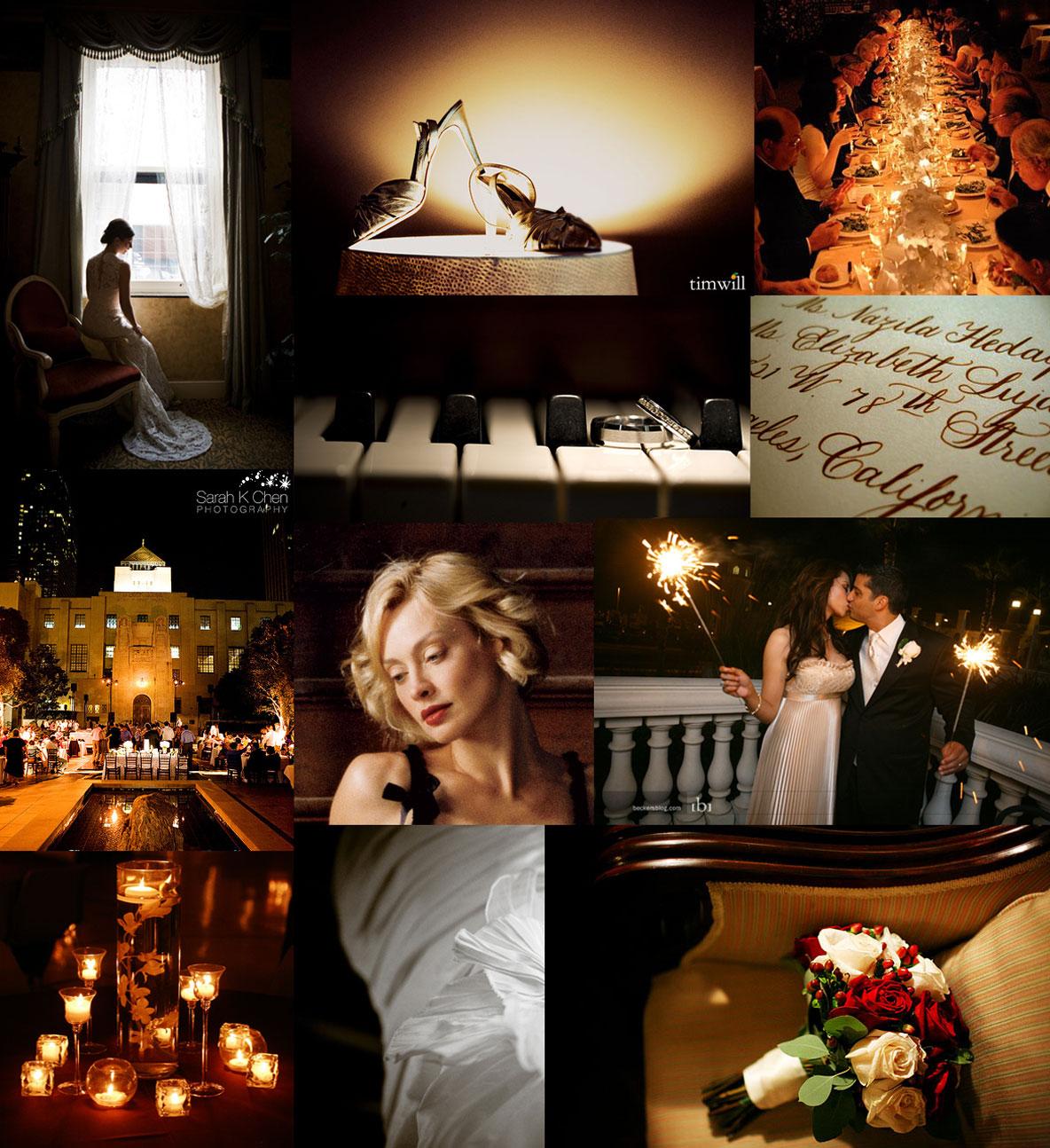dark and elegant candlelight wedding inspiration board