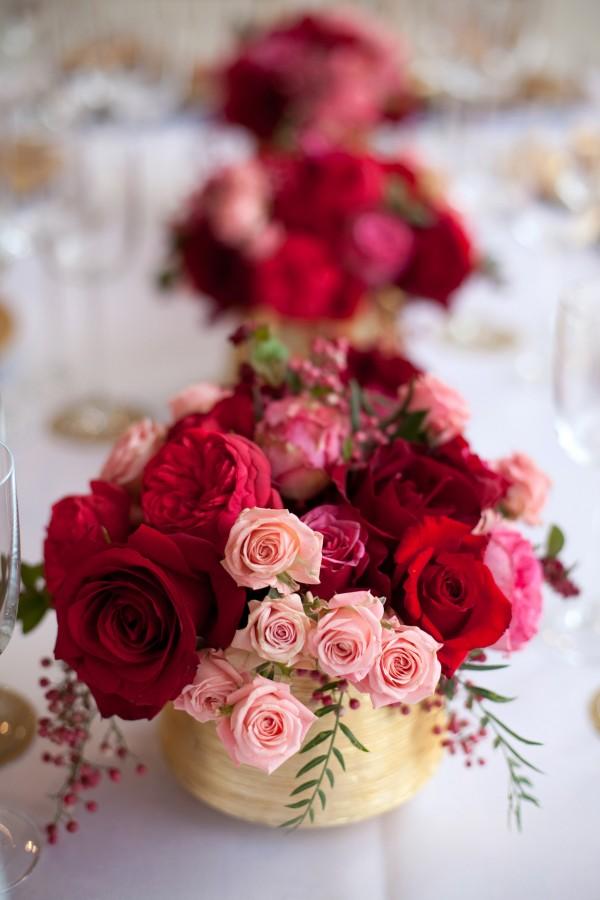 Red Pink Rose Gold Vase Centerpiece Elizabeth Anne