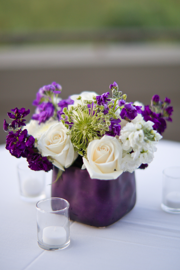 Purple White Cocktail Table Flowers Elizabeth Anne