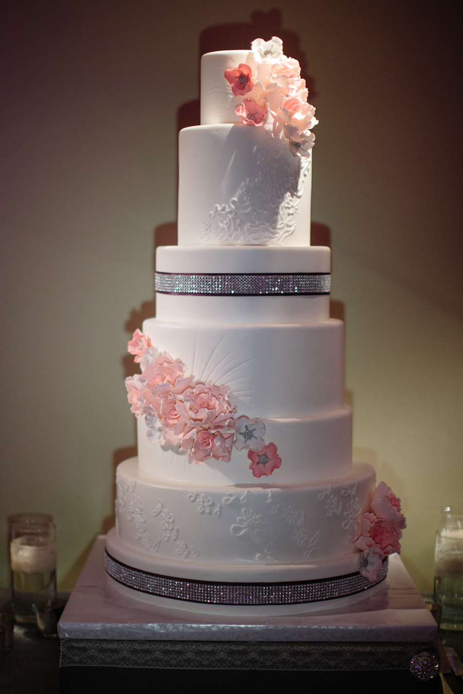 Modern Wedding Cake With Cascading Flowers Elizabeth