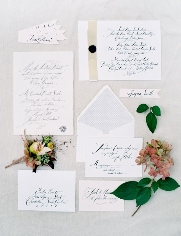 Modern Calligraphy Wedding Invitations