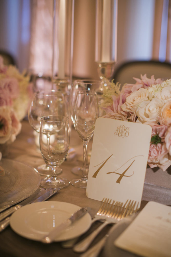 Monogrammed Gold Reception Table Numbers Elizabeth Anne