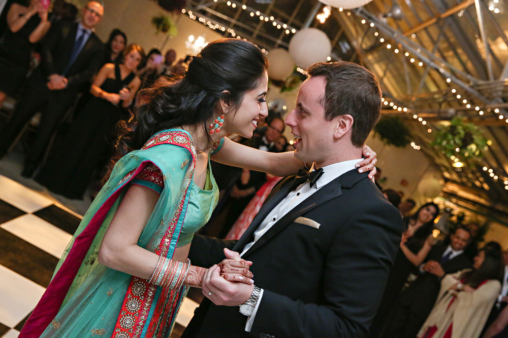 first dance in traditional indian wedding dress