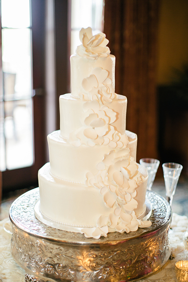 Wedding Cake With Cascading Sugar Flowers Elizabeth Anne