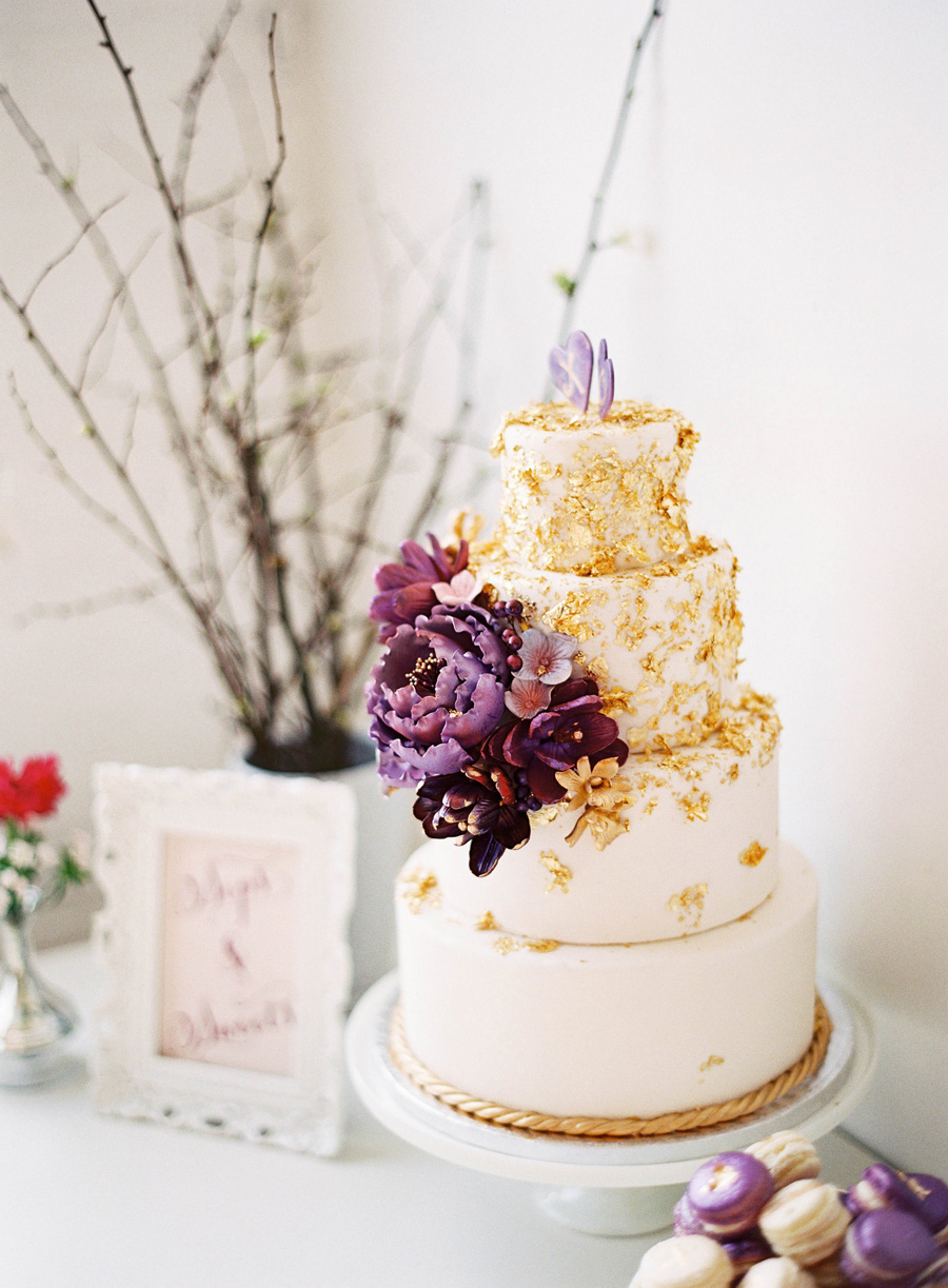 Gold Purple Wedding Cake Elizabeth Anne Designs The