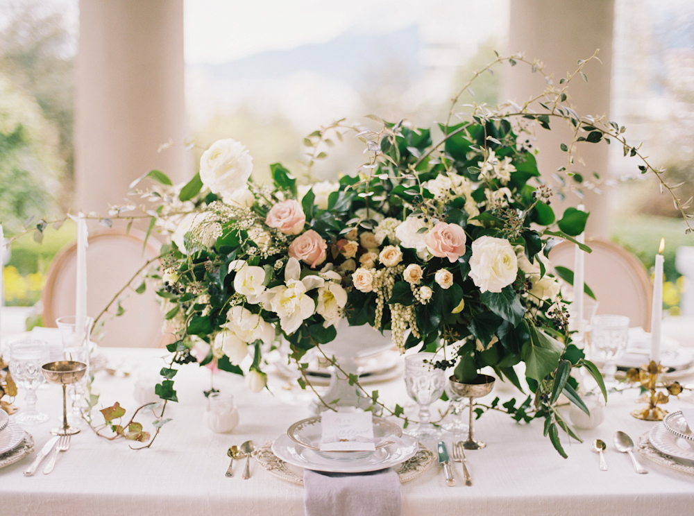 Blush And Ivory Centerpiece With Greenery Elizabeth Anne