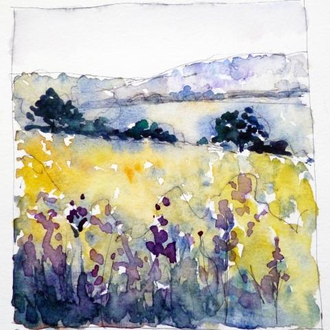Watercolour sketch of Berkshire countryside by Elizabeth Baldin