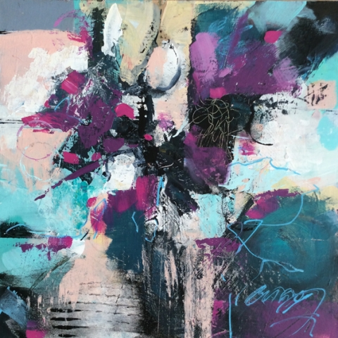 Abstract floral painting by Elizabeth Baldin