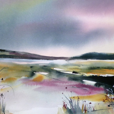 Contemporary landscape print with deep blue sky and dark grey, mustard and purple fields and grasses