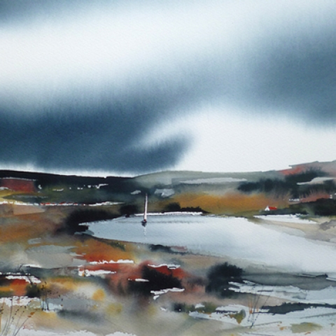 Atmospheric watercolour landscape with deep blue sky by Elizabeth Baldin