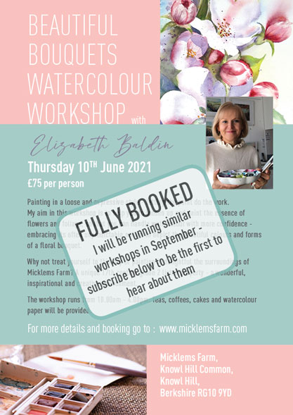 Workshop for flowers in watercolour