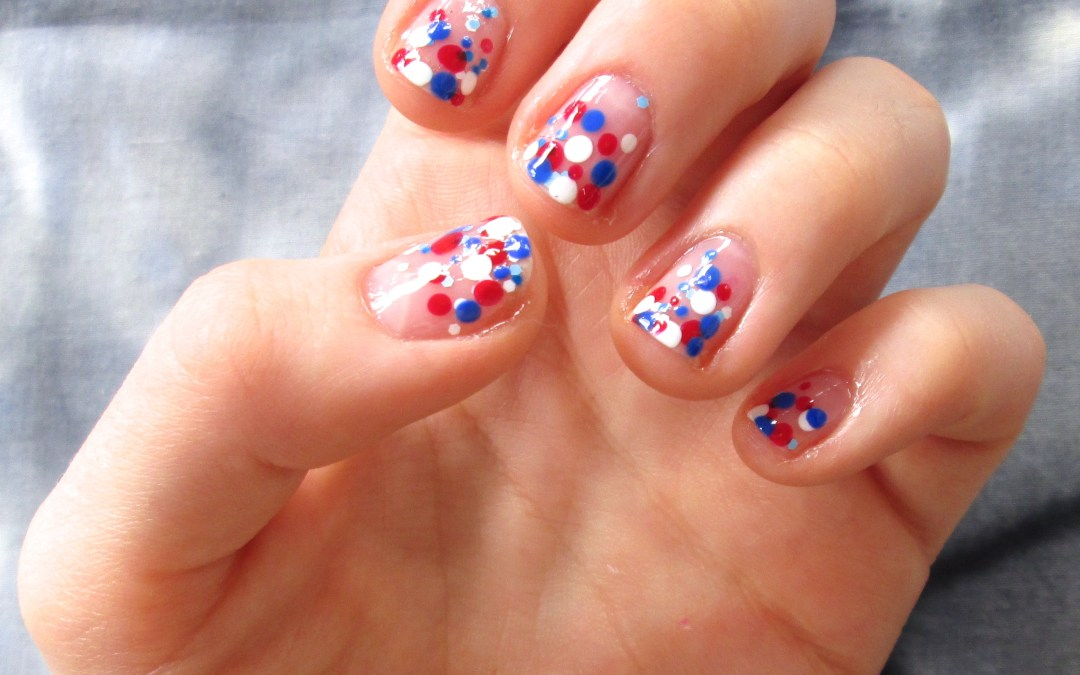 4th of July Easy Bubble Nail Art