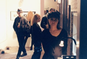 """Elizabeth Montague with art piece """"The Coins"""" in 1993."""