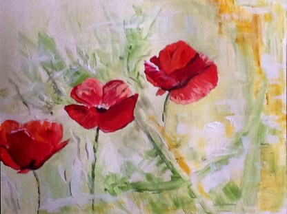 poppies in acrylic paint