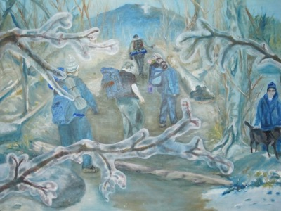 Oil Painting Gallery - Ice Storm Hikers