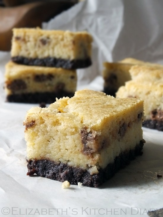 Chocolate Chip Cookie Brownie Bars by Elizabeth's Kitchen Diary