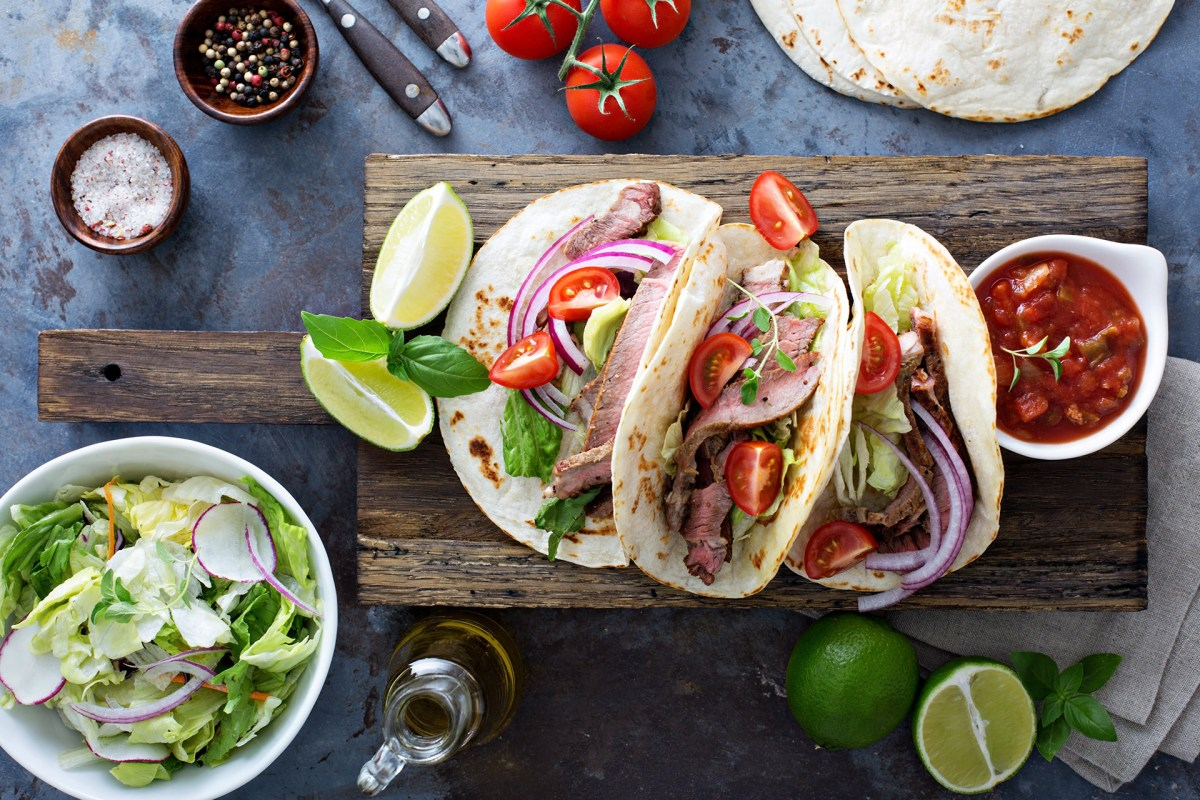 steak tacos, tacos, steak tacos with pickled onions, steak tacos recipe, recipe for steak tacos, elizabeth sutton collection
