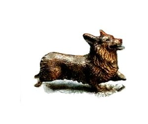 Pembroke Welsh Corgi sculpture in bronze by Elizabeth Trail