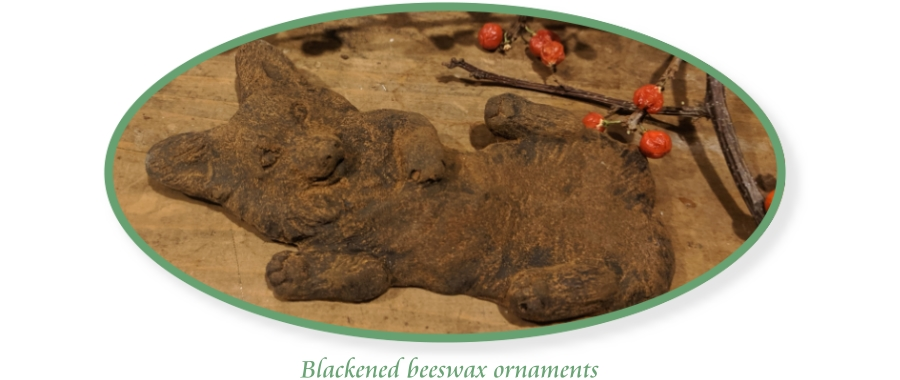 blackened beeswax corgi ornament hand rubbed with cinnamon from Elizabeth Trail Design