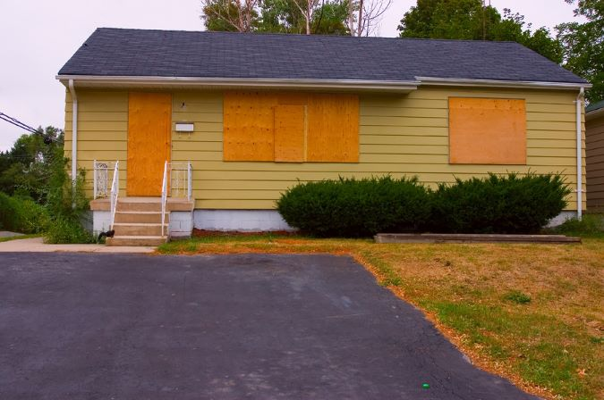 Real Estate Boarded Up And For Sale