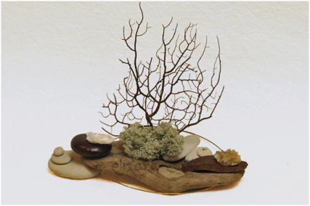 Composition végétale en bois, graines, mousse végétale, minéraux, algues  et galets