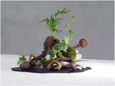 Composition végétale en ardoise, bois, graines, plantes séchées et vivantes, minéraux, mousse végétale et galets, par elizart