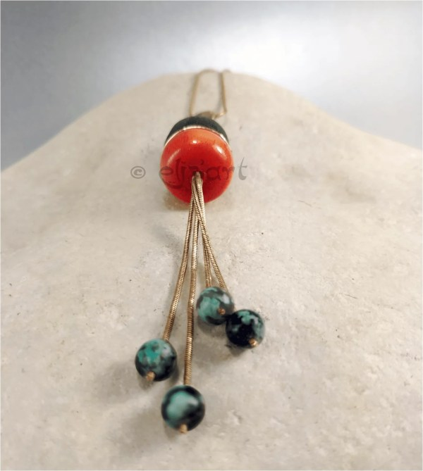 Unique pendant made with african turquoise, ceramic and brass by Eliz'art