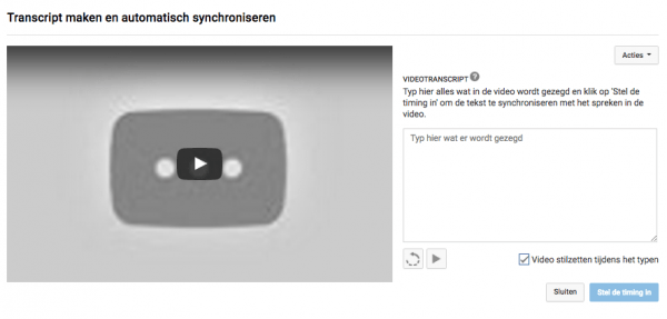 transcript maken youtube