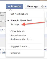 facebook updates vrienden tonen