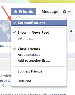 notificaties als vrienden facebook updates