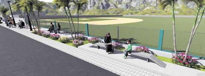 ❏ Perspectiva del Bulevar de La Peña, se construirá frente al play de la comunidad.