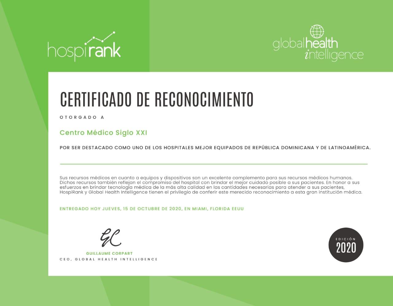 Reconocen Centro Médico Siglo 21 mejor equipado America Latina, por HospiRank y Global Health Intelligence