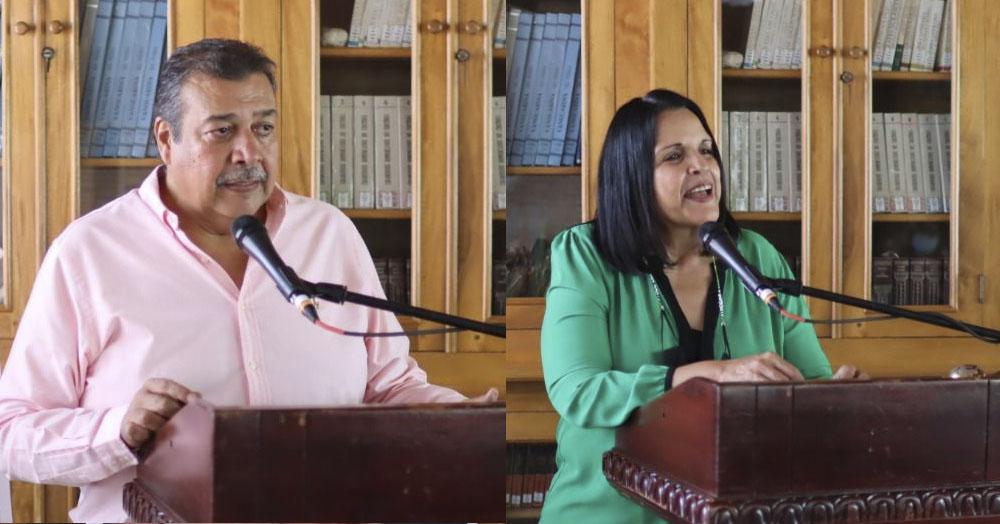 El presidente de la Fundación Hermanas Mirabal, Manolo Tavárez y Minou Tavárez Mirabal.