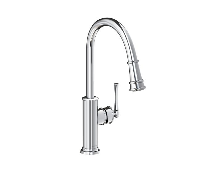 elkay explore single hole kitchen faucet with pull down spray and forward only lever handle