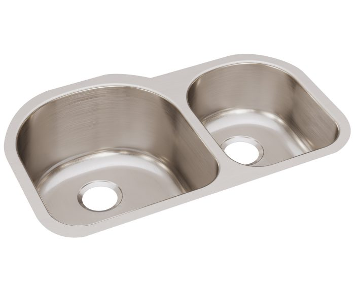 elkay lustertone classic stainless steel 31 1 4 x 20 x 10 offset 60 40 double bowl undermount sink